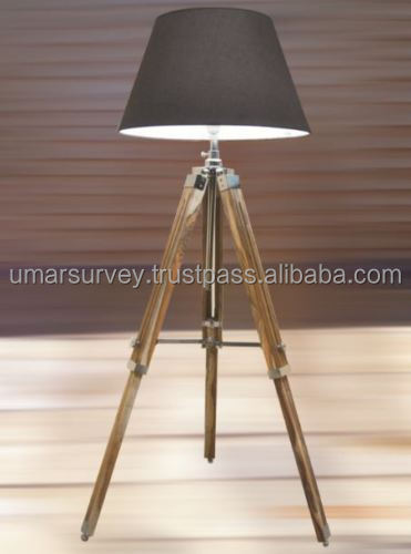 NAUTICAL STYLISH TEAK. WOODEN TRIPOD FLOOR LAMP, TRIPOD LAMP STAND