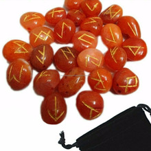 Red Carnelian Rune Set With FREE Bag: Wholesale Rune Stone: Wholesale Engraved Stone Runes Healing Set For Sale: Crystals Supply