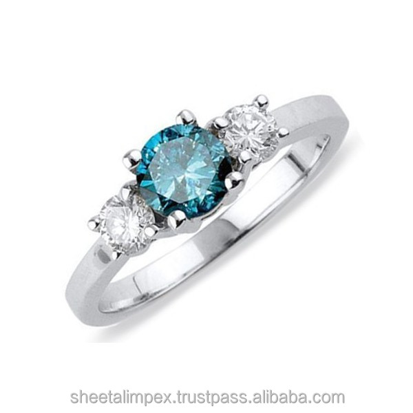 Certified 1.00 Tcw Real Blue Round Cut Diamond SI2 Clarity 18Kt White Gold Unique Engagement Ring at World wide Free Shipping