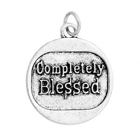 "Charm Pendants Oval Antique Silver Message Pattern ""Completely Blessed"" Carved 28.9mm x 24.8mm, 10 PCs"