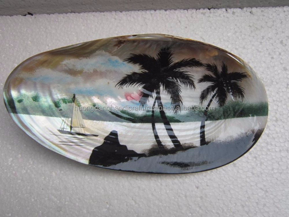 coconut tree painting inside seashell/ unique artistic with seashell made in Viet Nam