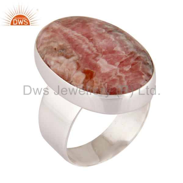 925 Sterling Silver Natural Rhodochrosite Cabochon Gemstone Ring
