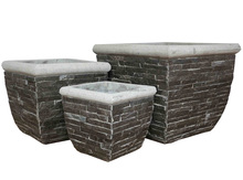 Natural stacked stone slate planters - Slate Pots and Animals decor - Slate Planter - Pebble water fountain [wholesale]