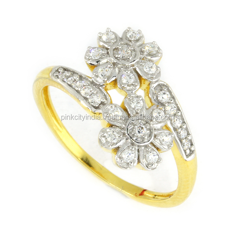 10 KT Gold Pave Setting Ring With White Cubic Zirconia