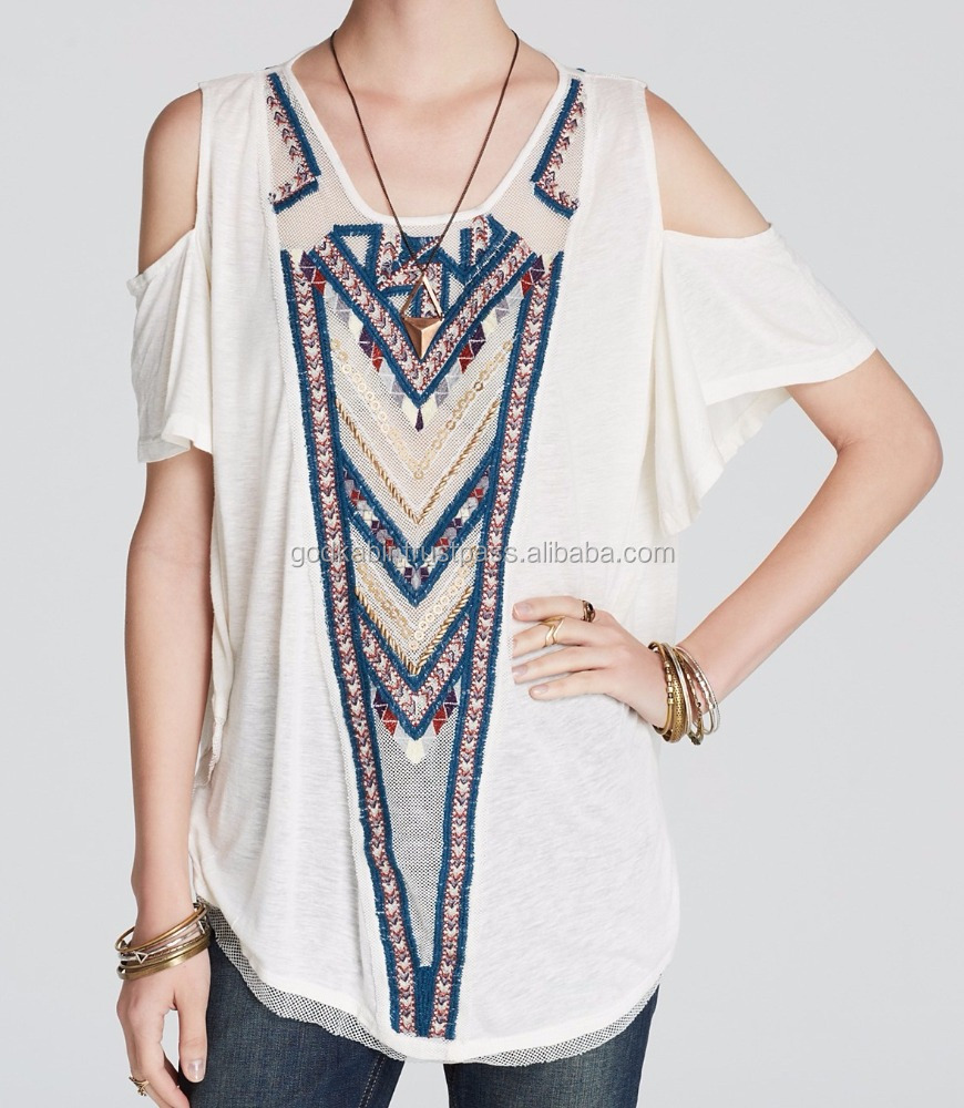 New Arrival Blue Embroidery White Tunic design images, indian tunic patterns for sewing