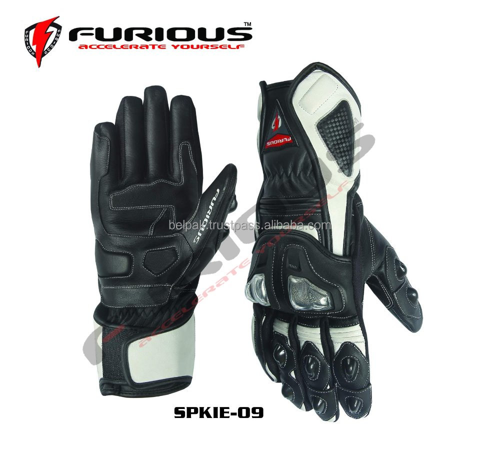SPIKE-09 Race Track Motorcycle Leather Gloves Black-White