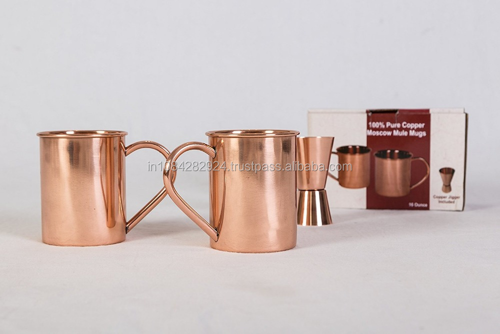 100% Pure Copper Mugs with Free Jigger 16oz capacity No Inner Lining - Polished Classic Look