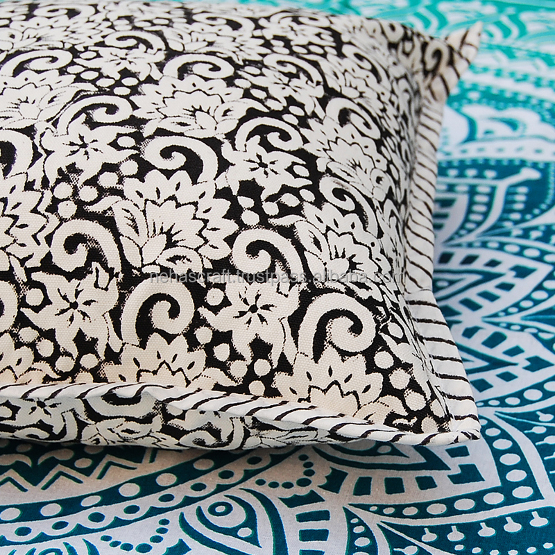 NCPCC-22 Floral High Fashion Black Indian Wood Block Print Cotton Ethnic Cushion Covers Home Interior Decorative Pillow Cases