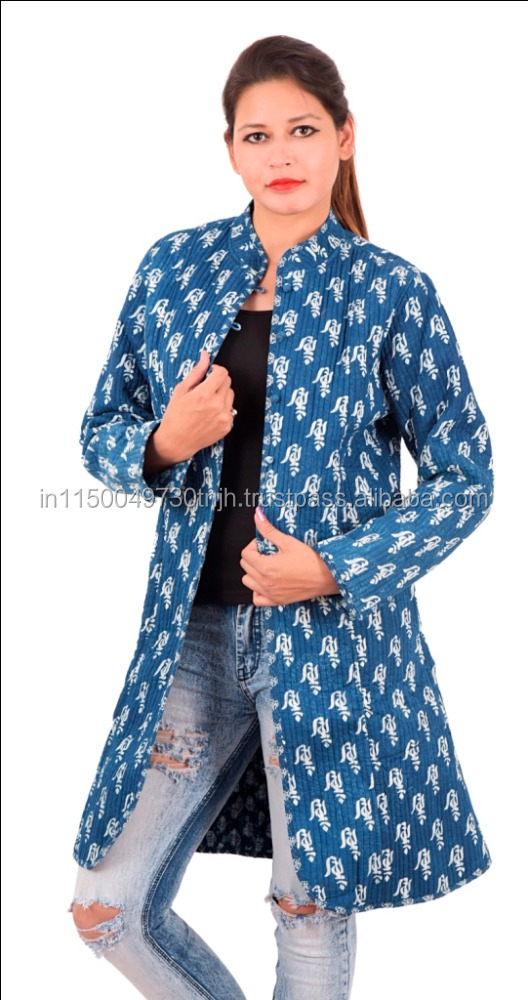 Indian Hand Block Printed Quilted Cotton Jacket Women's winter wear #JK-L-5