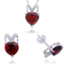 Sterling Silver Jewel Set (Maroon)