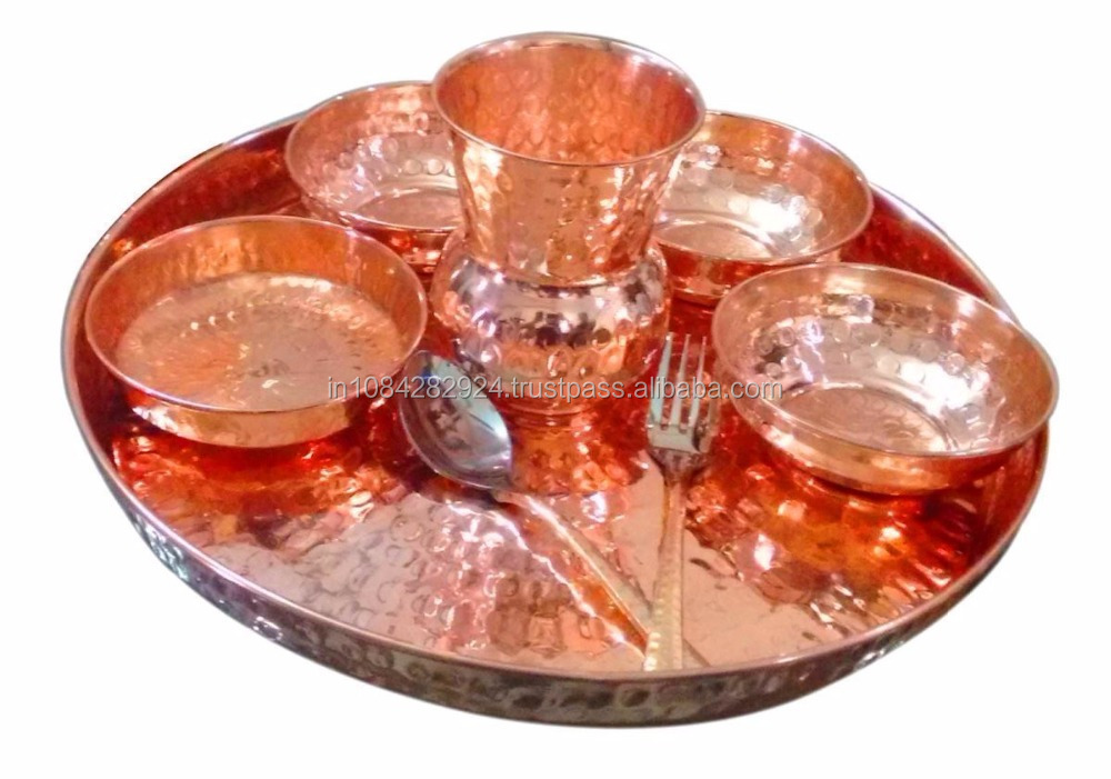 "Indian Dinnerware Traditional Copper Dinner Set of Thali Plate, Bowls, Glass and Spoon, Diameter 12"" - Gifts Idea"