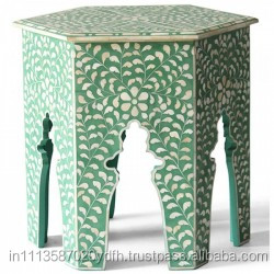 Bone Inlay Large Table floral green
