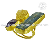 Citrine, Kyanite & Amethyst Gold Plated 925 Sterling Silver Jewelry Supplier Ring Jaipur Handmade Silver Jewelry Gemstone