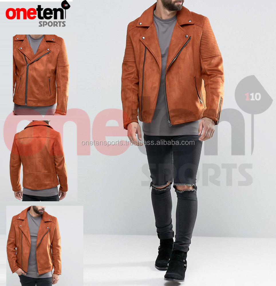 Soft-touch suede orange leather jacket / leather jacket