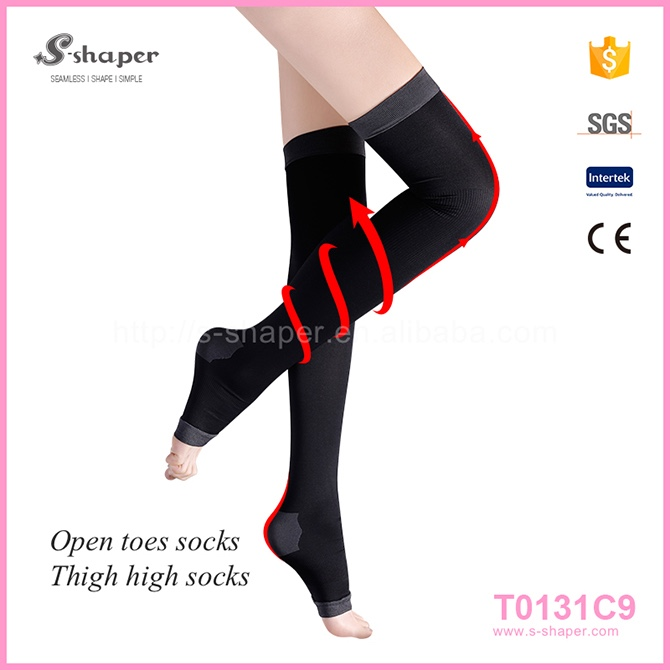 S - SHAPER Black Silk Tube Stockings Sleep Thigh High Socks T0131C9