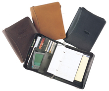 Classic PU Leather Organizer 3-Ring A4 A5 executive Padfolio double zipper portfolio with Left-Hand or Right-Hand Option