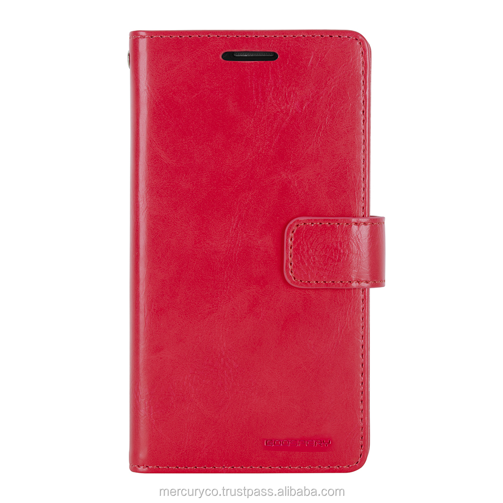 PU leather diary phone case Mercury Mansoor Diary (Red)