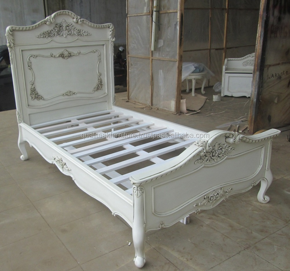 Antique White Painted Mahogany Carved Bed