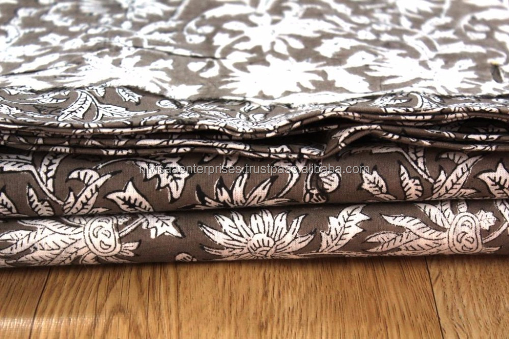 Indian Hand Block Printed Cotton Running Fabric