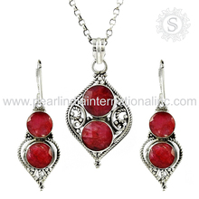Beautiful 925 Sterling Silver Jewelry Set With Ruby Gemstone Silver Wholesale Jewelry Indian Silver Jewellery Supplier