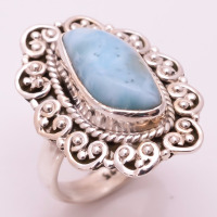 925 Silver Ring Natural Larimar Gemstone