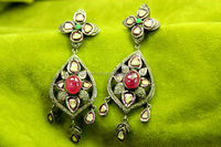 925 Sterling Silver Gold Polish Sapphire Ruby & Emerald Sparkle Diamond Victorian Jewelry Earring Good Quality.