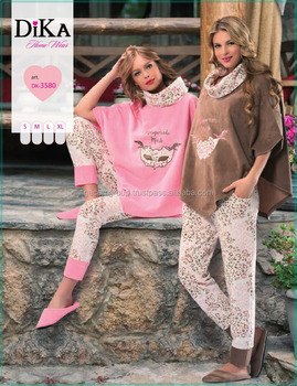 turkish brand %100 cotton women winter pyjama knitted homewear fleece sleepwear