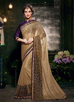 Beige color designer saree\fancy saree blouse designs\exclusive bridal saree