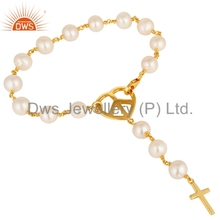 Natural Pearl Gemstone Cross Sign Charm Bracelet Wholesale 925 Silver Gold Plated Bracelets Manufacturer of Religious Jewelry