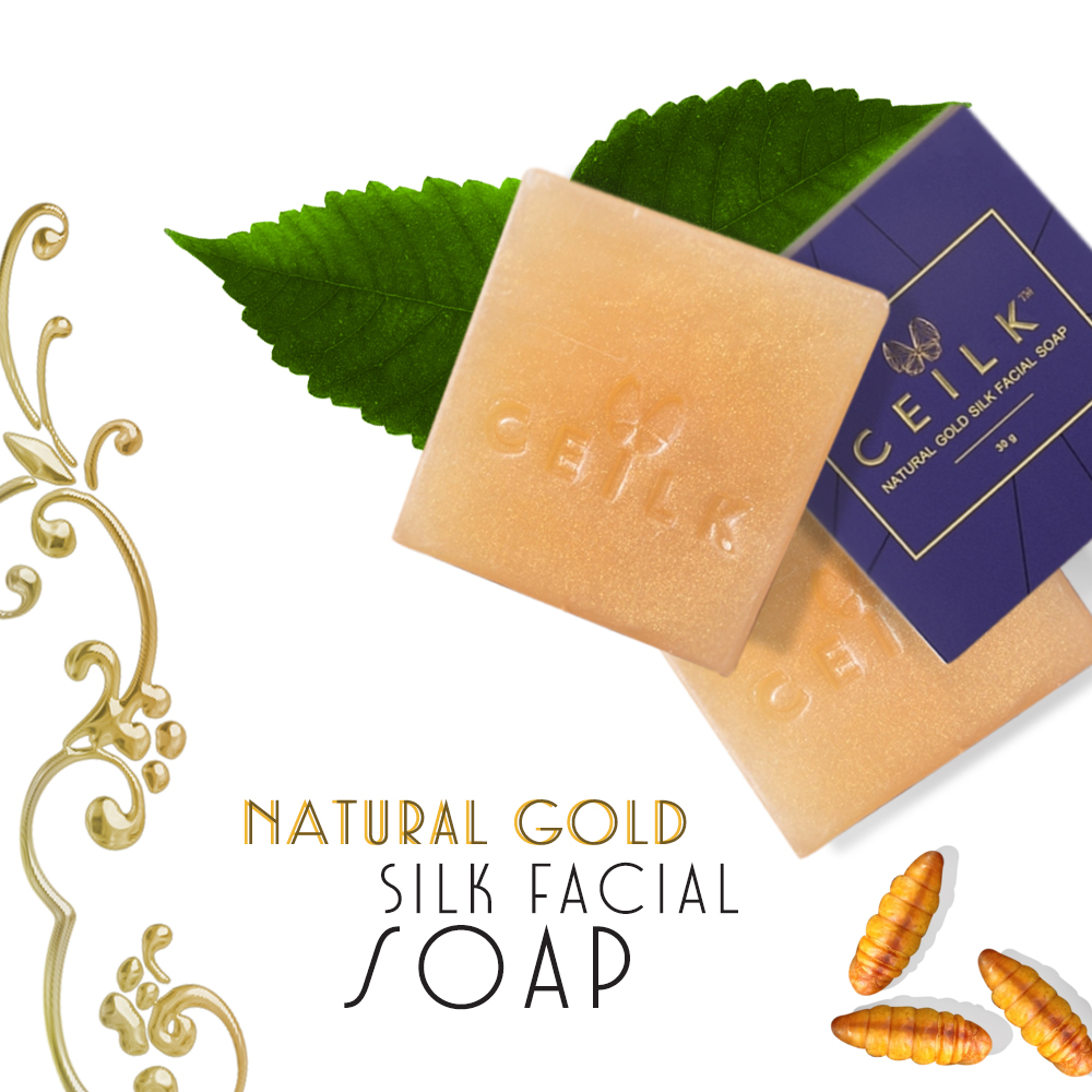 Natural Gold silk face soap extract tea seed oil from natural has vitamin e face whitening