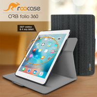 Top Quality roocase ORB 360 Rotating Folio Leather Cover Sleep/Wake Feature for iPad Mini 3, 2, 1 case Wholesale (Canvas Black)