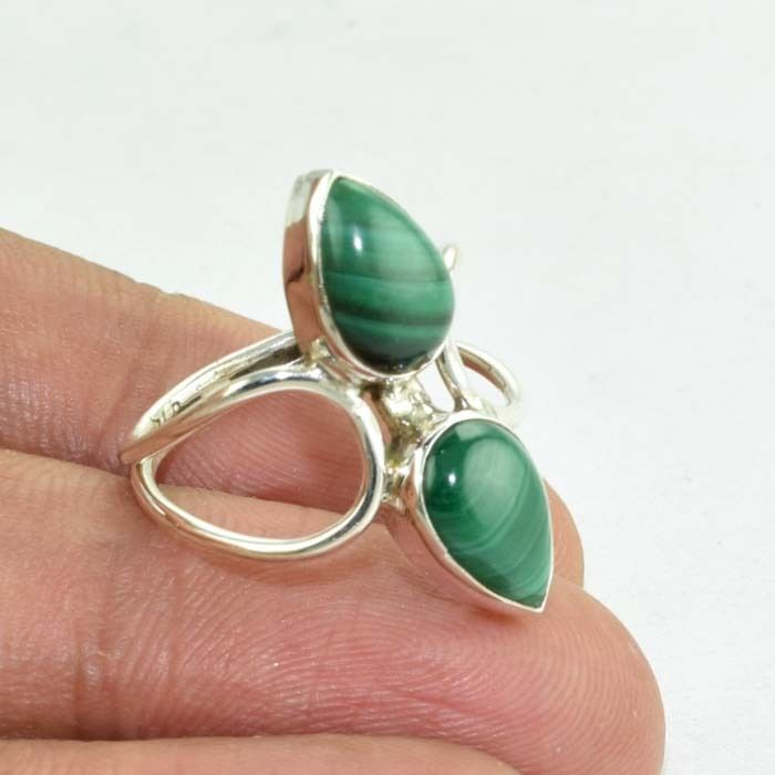 925 Sterling Silver 2 Gems Natural Malachite Ring Jewellery