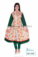 Cotton Anarkali Jaipuri Kurti Vestido Styles Ropa Ladies Garments cotton plain with printed women's short dresses 3528
