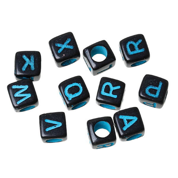 ABS Spacer Beads Cube Black At Random Alphabet/Letter Pattern About 6.0mm x 6.0mm, Hole: Approx 3.6mm, 1000 PCs