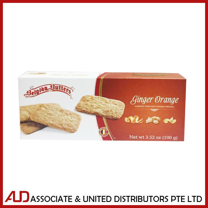 Belgian Butters Almond Thins W/Ginger Orange 100g