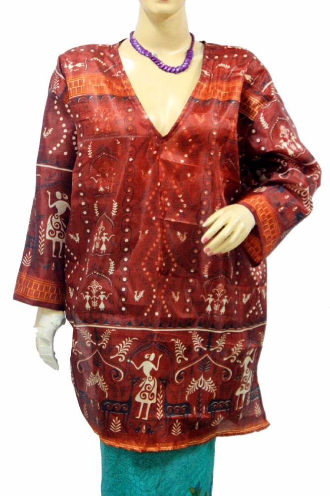 Indian New Top Tunic Women Kurti Silk Fabric V Neck Red Color