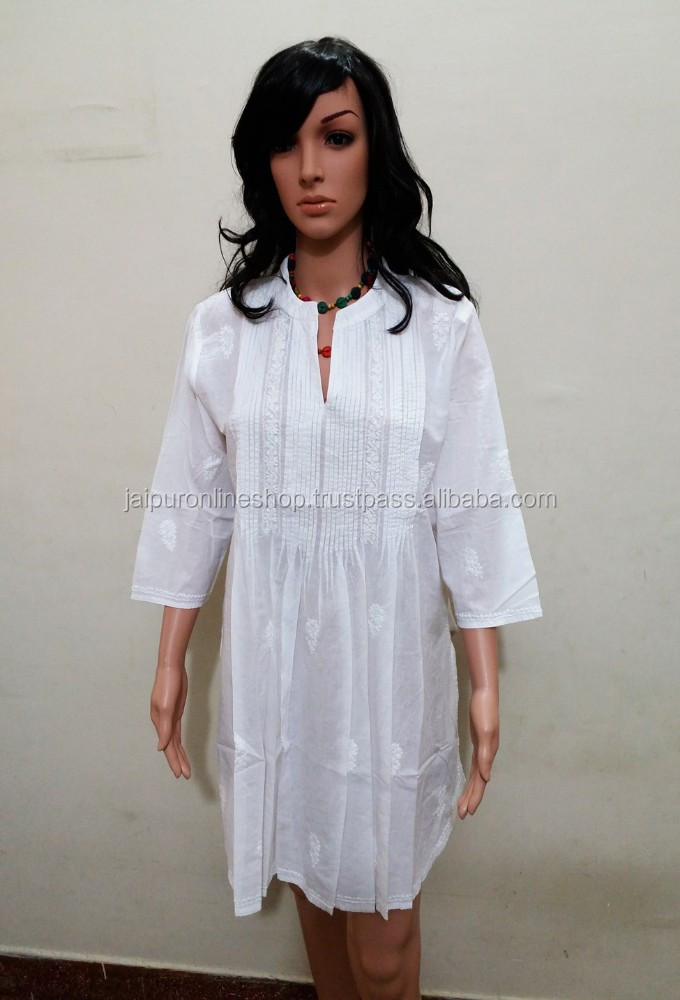 Buy Indian Party Dress White One Piece Dress / Hot Cotton fashion Tunic for Summer