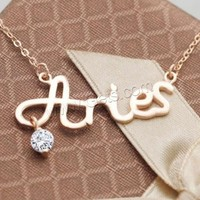 Cubic Zirconia Sterling Silver Necklace 925 Sterling Silver Aries real rose gold plated oval chain & with cubic zirconia 32x13m