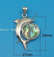 Abalone Shell Brass Pendant Dolphin 34x27x6mm Hole:Approx 6x4mm Sold By PC