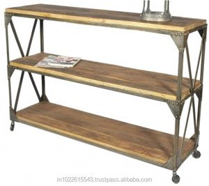 Industrial Vintage Iron and Wood Book shelf/ Industrial mango wood storage shelf