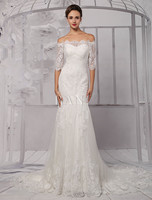 Half Sleeve Off the Shoulder Lace Wedding Dress in Trumpet Style
