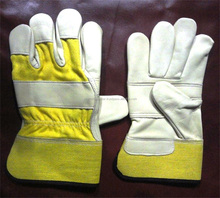 High quality Safety Welding Gloves White Color/rubber Cuff Leather Working Gloves, Premium Grade Leather Safety Work