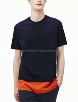 Wholesale Bulk Popular Quality super soft cotton jersey t-shirt with a contrasting mesh panel at the bottom