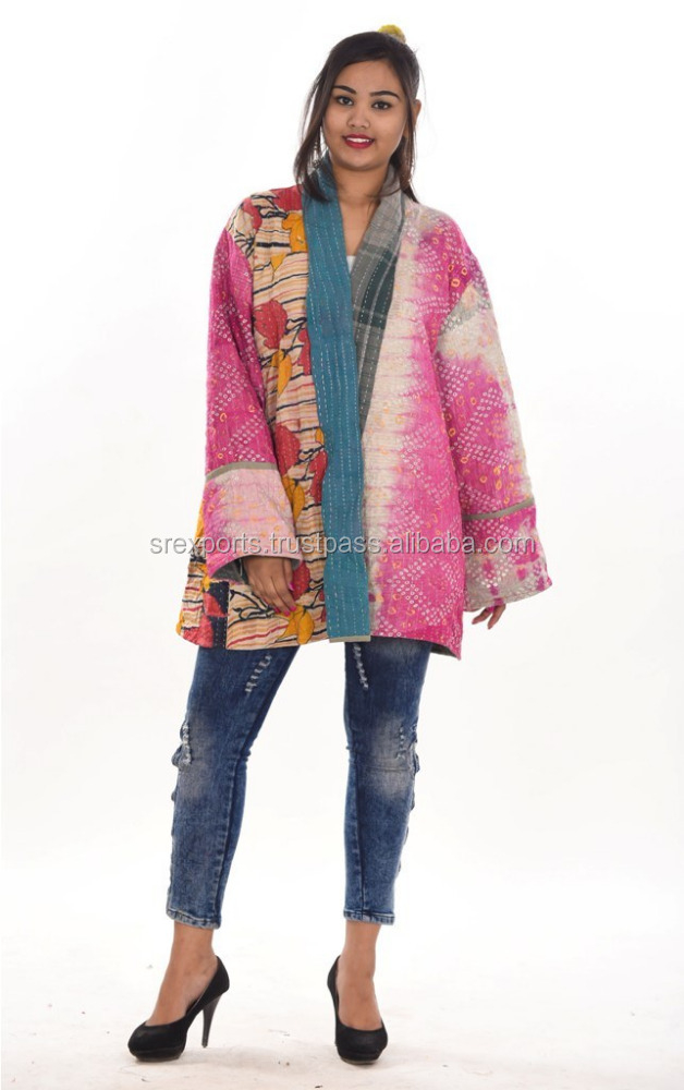 Women Long Cotton Kantha Jacket