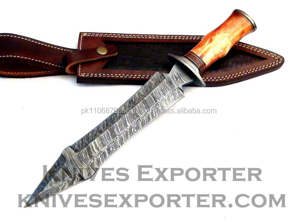 Custom Handmade Damascus Steel Dagger Knife, Bone Handle with Damascus Guard & Pommel