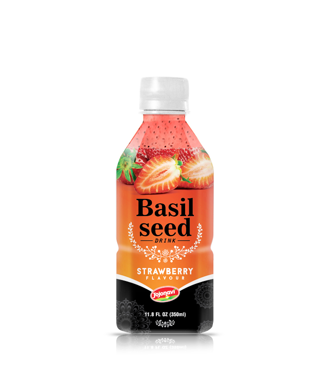 350ml Wholesale fruit juice Basil seed drink Strawberry flavour PET Bottle