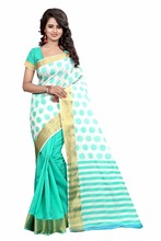 WOMEN'S ETHNIC WEAR POLY COTTON WHITE SEA GREEN COLOUR SAREE WITH BLOUSE PIECE