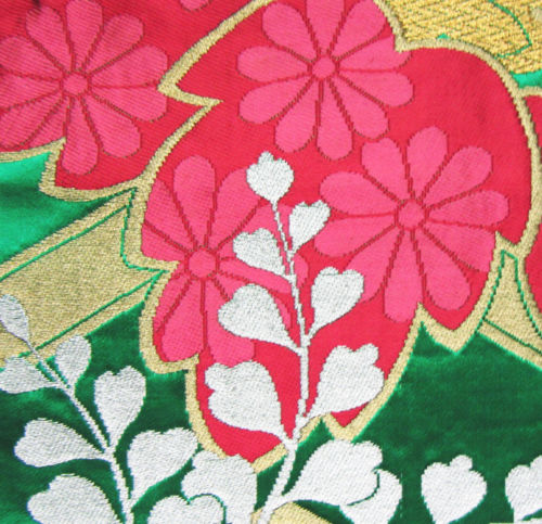 Obi Fabric Gold Silver Pink Flower. fabric flowers making. Korea Gold Silver