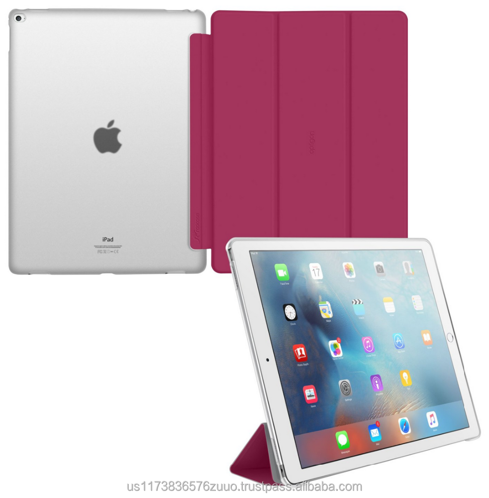 Ultra Slim Lightweight Smart Cover PC Shell Clear Case Magnetic Auto Sleep Wake for iPad Pro 12.9 roocase Optigon (magenta)