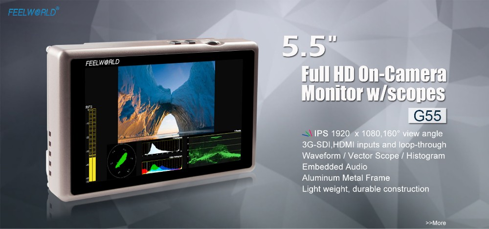 FEELWORLD 5.5 inch IPS Full HD 1920x1080 SDI video monitoring with Waveform Histogram